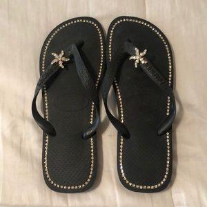 Havaiana bedazzled flip flops